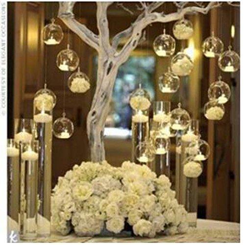 LANLONG 18 Stücke Kreative Haus Hängende Glasball Romantische Kerzenständer Hochzeit Geburtstag Fest Deko, 18 Stücke