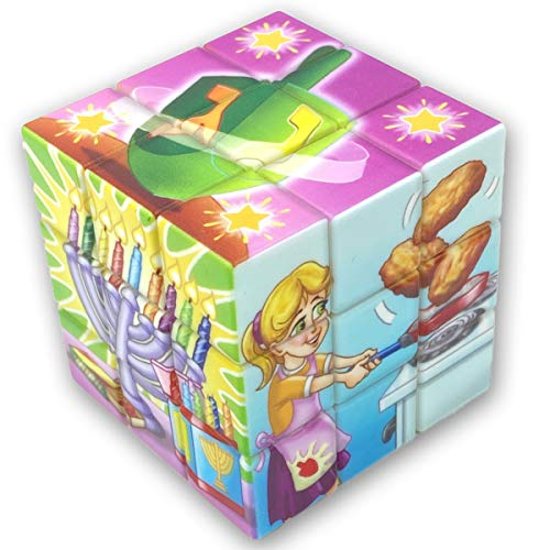 Hanukkah Toy Magic Cube Style Game with Chanukah Pictures Include Menorah, Dreidel, Latke Designs - Challenge Yourself & Your Friends, Hours of Fun