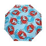 Cangrejo Ocean Sea paraguas de viaje para niñas y hombres, con apertura automática, pequeña, a prueba de lluvia, 3 sombrillas plegables para mujeres, protección UV