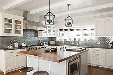 Homenovo Lighting Marden 4-Light Chandelier, Industrial Style Lighting for Entryway,Hallway and Dining Room - Matte Black Fin