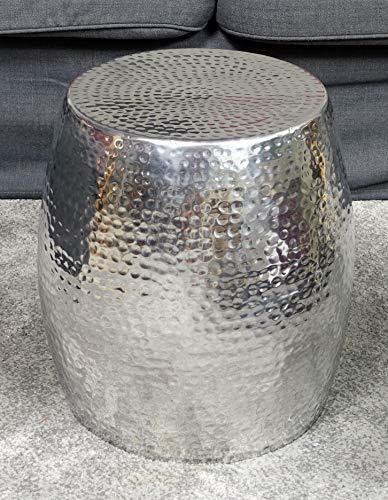 MichaelNoll Couchtisch Modern, Wohnzimmertisch Sofatisch Beistelltisch Tisch Hammerschlag Orient Aluminium Metall Silber Luxus Rund 40 cm