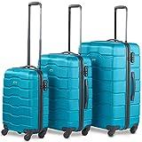 """VonHaus Lightweight 4 Wheel ABS Hard Shell Travel Trolley Set of 3 Luggage Suitcase Set, 21"""" Cabin..."""