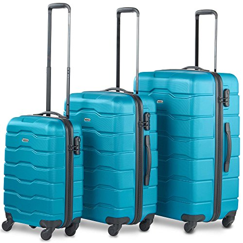 "VonHaus Lightweight 4 Wheel ABS Hard Shell Travel Trolley Set of 3 Luggage Suitcase Set, 21"" Cabin Hold On Hand Luggage, 25"" and 29""), Teal"