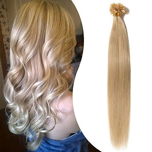 Extension Cheveux Naturel Keratine 1g - Rajout Cheveux a Chaud 50 Mèches (#24 BLOND CLAIR, 60 cm)