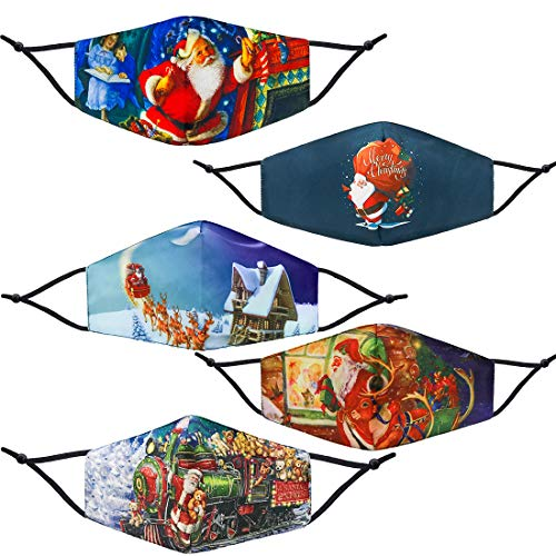 5 Pack Christmas Reusable Facial Protection Cover with Adjustable Nose Clip Santa Claus Pattern Washable Anti-Fog Dust-Proof Cotton Full Face Protection Masks