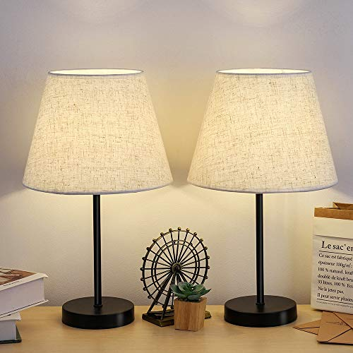 Bedside Table Lamp, Small Desk Nightstand Lamps with Linen Fabric Shades Metal Frame for Bedroom Living Room Office, Set of 2