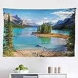 Lunarable Landscape Tapestry, Maligne Lake in Jasper Natioanal Park...