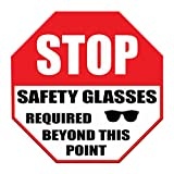 Stop Safety Glasses Required Beyond This Point Floor Decals Red Anti-Slip Round Shape Industrial & Craft Signs Stickers 17Inches Longer Side