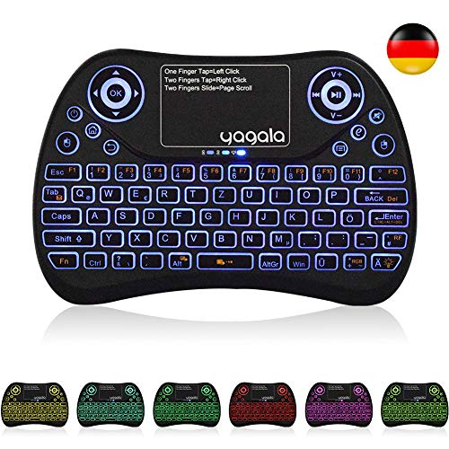 YAGALA Mini Tastatur Wireless mit Touchpad Mouse Combo, 2.4GHz QWERTZ Deutsch Tastaturlayout, Smart TV Tastatur Fernbedienung für Android TV Box, HTPC, IPTV, XBOX360, PC, PAD