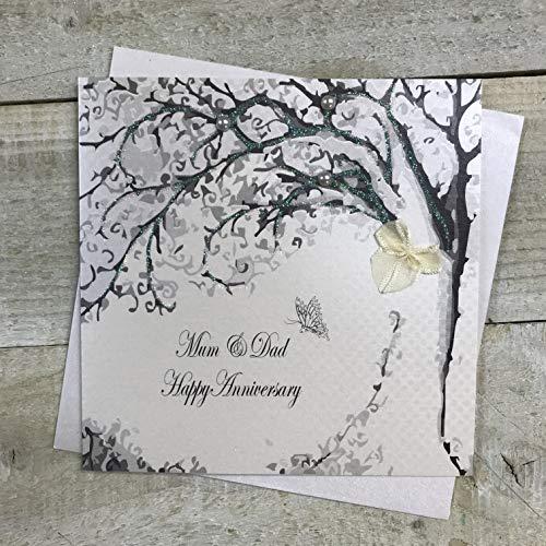 Wit Katoen Kaarten Mama & Papa Gelukkig, Handgemaakte Verjaardagskaart (Code pd32)