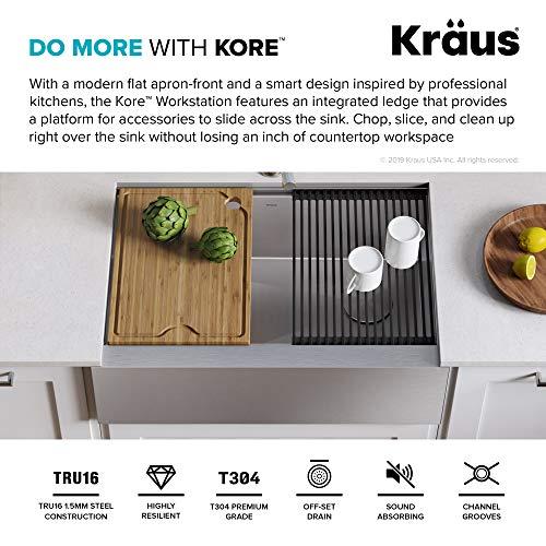 "Kraus KWF410-30 Kore Kitchen Sink Single Bowl, 30 Inch, 30""- Workstation"