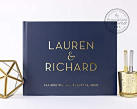 Customized Navy Wedding Guest Book with Gold Foil, Personalized Polaroid Photo Album or Sign in Book - Hardcover (10x8 inches)