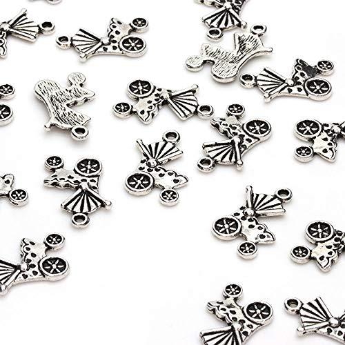 Beads Unlimited Kinderwagen-bedel, metaal, antiek zilver, 19 x 14 mm