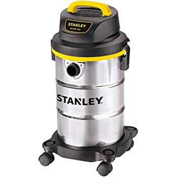 """Stanley 5 Gallon Wet Dry Vacuum , 4 Peak HP Stainless Steel,1-1/4""""x5 Feet Hose, Range for Household, Upholster, Garage, Workshop with Vacuum Attachments-SL18130"""
