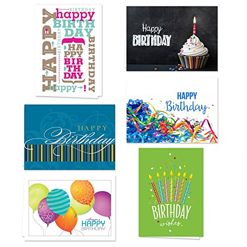 Lively Birthday Note Card Assortment Pack - Set of 36 Cards per Package - 6 Designs Blank Inside - with White envelopes