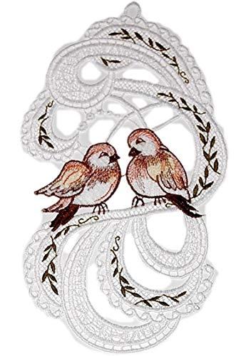Fensterbild 16x30 cm + Saugnapf Plauener Spitze ® Spatzen Liebe Ranke Spitzenbild Vögel