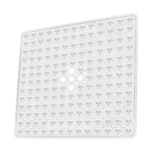 Kaycolin Duschmatte rutschfest Quadratisch - Antirutschmatte Dusche 53 x 53 cm - Badewannenmatte rutschfest - Maschinenwaschbar - Fest im Bad und der Badewanne Installiert (Weiß)