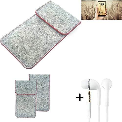 K-S-Trade® Handy Schutz Hülle Für Allview X4 Soul Infinity N Schutzhülle Handyhülle Filztasche Pouch Tasche Hülle Sleeve Filzhülle Hellgrau Roter Rand + Kopfhörer