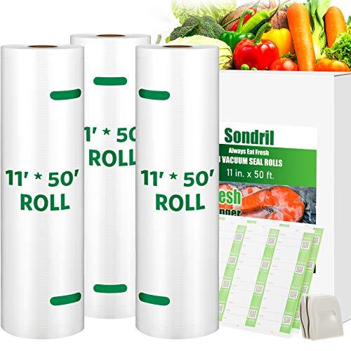 Sondril Vacuum Sealer Bags 3 Rolls 11x50 for Food Saver,Make Custom-Sized BPA-Free bags Commercial Grade Meal Prep or Sous Vide