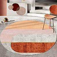 ラグ 円形 洗える カーペット 北欧風 おしゃれ ラグマット 滑り止め付き 掃除易い 吸水速乾 抗菌防臭 折り畳み 床暖房対応 オールシーズン 幾何 100cm 絨毯 マット タイプ 防ダニ 冷房 マルチカラー ラグマット チェアマット フロアマット
