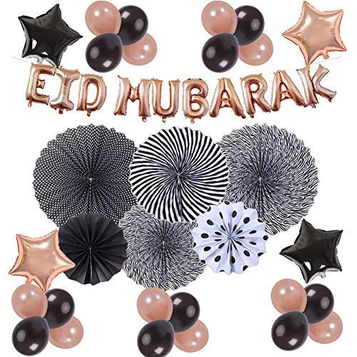 Eid Al-fitr Decoratie latex ballon set voor moslim geschenk bruiloft decoratie party rozetten met papieren waaiers ballonnen papier kwasten tissue pompons