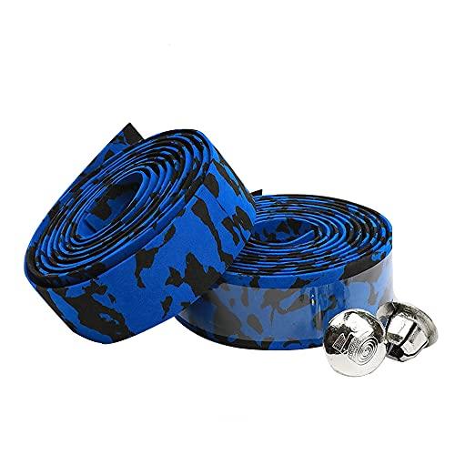 Bici Bicicleta Cinta, 2 Piezas Cinta Adhesiva para Manillar, Cinta de Manillar de Bicicleta para Ciclismo, Goma de Camuflaje Antideslizante Cinta para Bicicleta Raqueta Caña Pescar (Azul Negro)