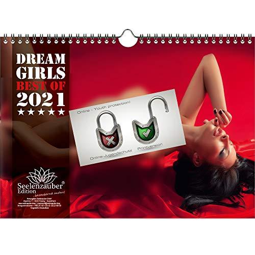 Calendario de pared 2021 (29,7 x 21,0 cm) chica erotica sexy Dreamgirls - Contenido del set de regalo: 1x calendario, 1x tarjeta de Navidad y 1x tarjeta de felicitación (3 partes en total)
