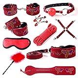10 piezas Set de juguetes para adultos Esposas de cuero Grilletes Clip para el cuello Clip Máscara para los ojos Pat de mano Tapón de plumas Tapón de cuerda Boca Pareja Rojo