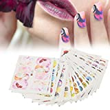 Pegatinas de uñas, 50 Hojas/Set Animal Arte de Transferencia de Agua Etiqueta Engomada de manicura Pegatinas Pegatinas Flor de Dibujos Animados Gato Mariposa Calcomanía Consejos de bricolaje