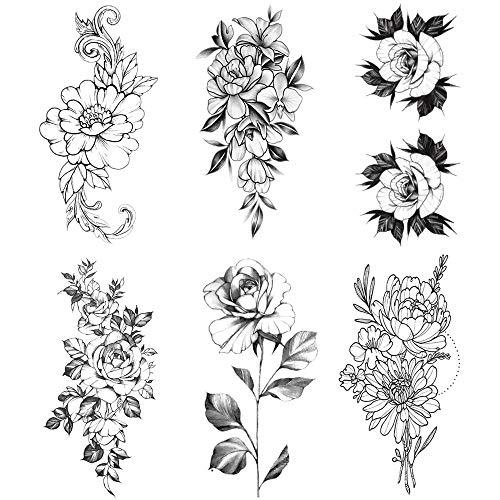 6 Blätter Blume schwarz Mehndi Temporäre Tattoo Frauen Wasserdicht Schwarz Tattoo Aufkleber 3D Blüte Damen Schulter Tattoos Rosen DIY Große Tattoos Aufkleber