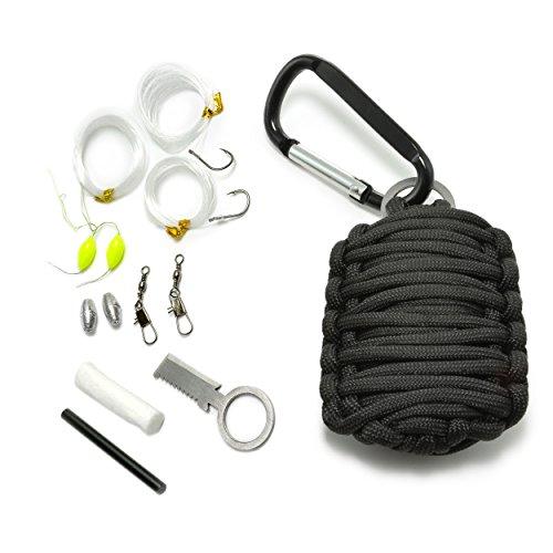 Ganzoo Paracord 550 Survival – Kit, 12 teiliges Set als Überlebensausrüstung, Outdoor Set, Survival Set, Marke Ganzoo (Schwarz)