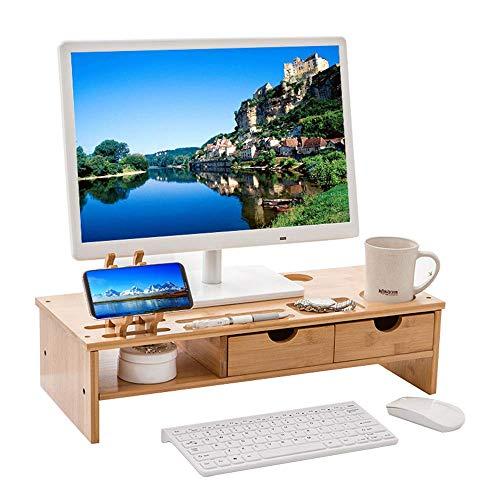 Gaohm Soporte para Monitor Organizador de Escritorio ergonómico de bambú con 2 cajones y Ranuras para Soporte de teléfono para Suministros de Oficina para computadora portátil Oficina