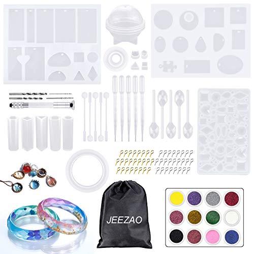 JEEZAO Silikonform Schmuck, Epoxidharz Gießharz Set für Armreif Anhänger Kristall Schmuckherstellung DIY Handwerk inkl. Werkzeug Zubehör (94)