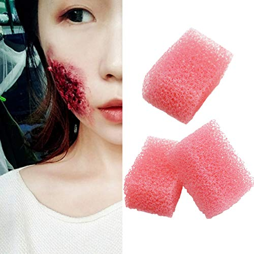 Meicoly Stipple Sponge Halloween Makeup Xmas Blood Scar Stubble Wound Cosplay Art Shaping Special Effects, 3pcs,Pink