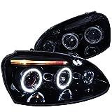 Spec-D Tuning LHP-GLF05G-TM Volkswagen Golf Rabbit Jetta Glossy Black Housing Halo Led Proj Headlights