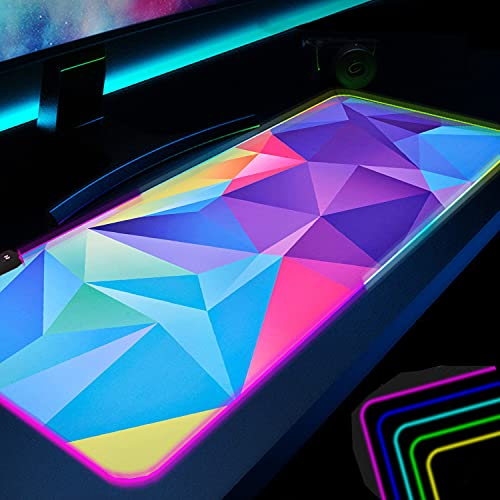 Large RGB Gaming Mouse pad Extended Mouse mat , Non-Slip Rubber Base , Waterproof Keyboard Pad , Desk Pad Cool Big XXL Gaming Mousepad for Premium-Textured Home Office Desk mat for Gamer 31.5X12