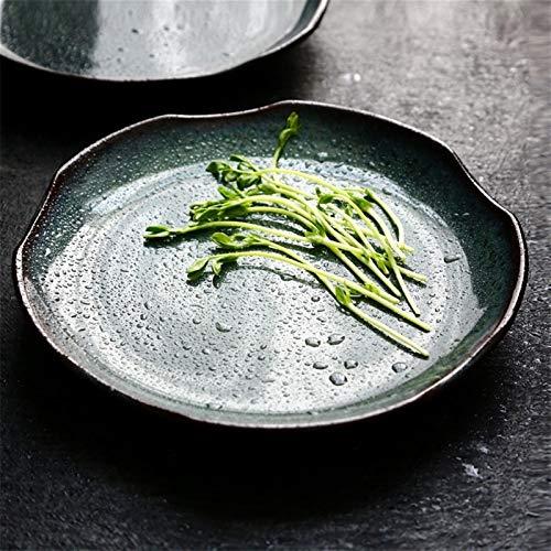 H/A Cerámica en Forma de Cocina Creativa Cocina Casa Retro Lotus Hoja Verde Plato Plato Restaurante Restaurante Occidental SADSDM (Color : Green, Size : 8.5 Inch Disk)