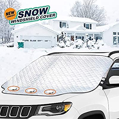 Car Windshield Snow Cover,Windshield Snow Cover with 4 Layers Protector,XXL size fits any cars trucks&SUV, 3Magnets & security flap -Double security design Waterproof/Windproof Outdoor car snow covers