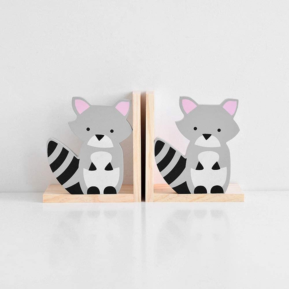 JF-XUAN Max At the price 84% OFF Bookends Creative Cartoon Magazin Bookend Wooden Raccoon