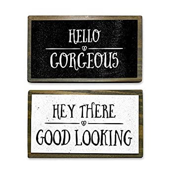 ANVEVO Hello Gorgeous Hey There Good Looking - Two 6  Handmade Rustic Couple Metal Wood Signs – Cute Rustic Wall Decor Art - Farmhouse Decorations – Couple Bathroom Signs
