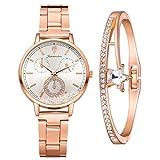 Damenuhr Roségold Uhr Minimalistisch Damen Armbanduhr Paar Uhren Elegant Wasserdicht Armbanduhr Lässige Uhren für Frauen Mädchen Ultradünne Set mit Armreif(Weiß)