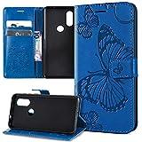 Kompatibel mit Schutzhülle Motorola One Vision/Moto P40 Hülle,Prägung 3D Schmetterling Relief Lanyard Muster PU Lederhülle Flip Hülle Cover Ständer Bookstyle Wallet Tasche Schutzhülle Handyhülle,Blau