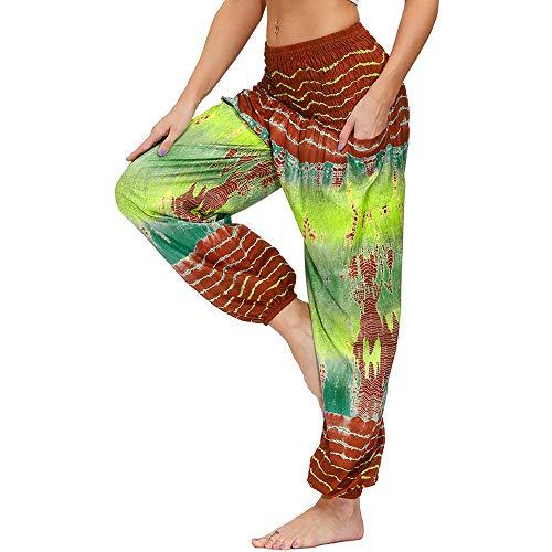 Nuofengkudu Damen Hippie Hosen mit Taschen Haremshosen Yogahosen Leichte Boho Muster High Waist Yoga Hosen Bunt Gemustert Lockere Pumphose Freizeithose Sommer Strand(Z-Orange Grün,Einheitsgröße)