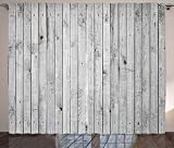 Ambesonne Grey and White Curtains, Vertical Lines Wooden Board Background Black and White Tone Vintage Planks Picture, Living Room Bedroom Window Drapes 2 Panel Set, 108' X 84', Grey