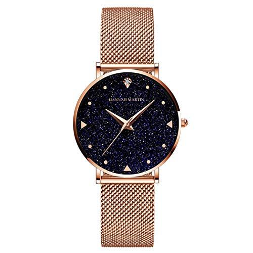 Mujer Relojes, Allskid Estilo romantico Cielo Estrellado Dial Acero Inoxidable Correa de Reloj Elegante Cuarzo Reloj de Pulsera Women Watches