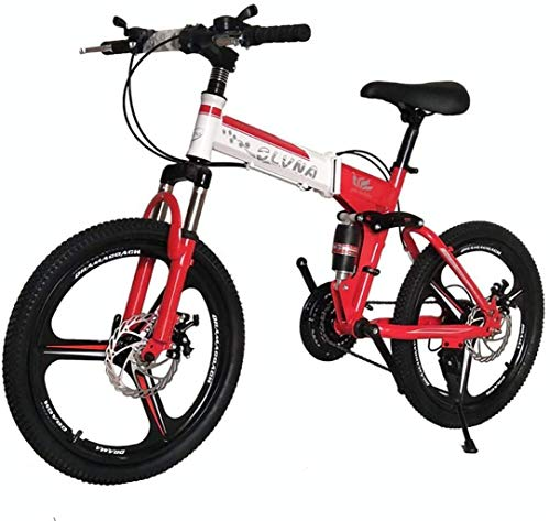 Best Buy! HongLianRiven BMX 20 Inch Mountain Bike with Suspension Fork Damping, Collapsible Bicycle Non-Slip Handle in Front and Behind Disc Brakes Boy-Girl Bikes 6-6 (Color : White/Red, Size : 24 Speed)