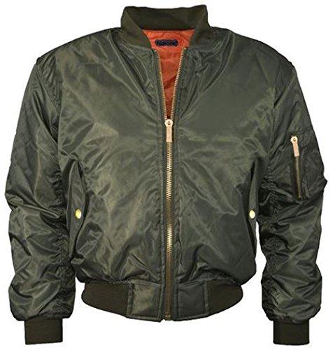NOROZE Mädchen Jungen Kinder Ebene MA1 US Luft Pilot Reißverschluss Motorradfahrer Bomber gepolstert Jacke Mantel Alter 7-13 Jahre