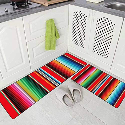 Colorful Mexican Rug Pattern Serape Stripes Detail Background with Colors Washable Non-Slip Kitchen Rug for Kitchen