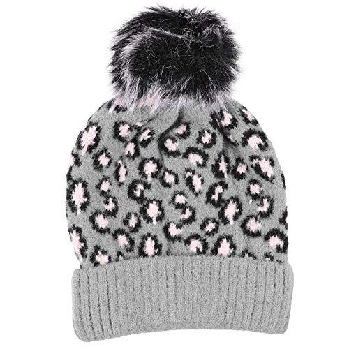 Wollmütze Damen Leopard Beanie Mütze mit Fellbommel Warm Strickmütze Wintermütze Reisezubehör