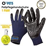 O³ Pets Fellpflegehandschuh // 1 Paar Handschuhe + 1 Leuchtanhänger // Fellhandschuhe Hunde Katzen Pferde // Pet Grooming Glove – Tierhaar Handschuh